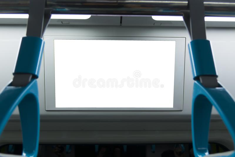 Een leeg aangestoken uithangbord binnen een hoge snelheidstrein, met ruimte voor tekst royalty-vrije stock afbeelding