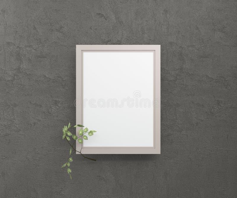 Een leeg beeld in een kader tegen een donkere muur met een berktakje het 3d teruggeven royalty-vrije illustratie