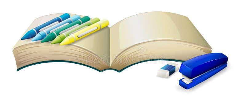 Een leeg boek met kleurpotloden, een nietmachine en een gom vector illustratie