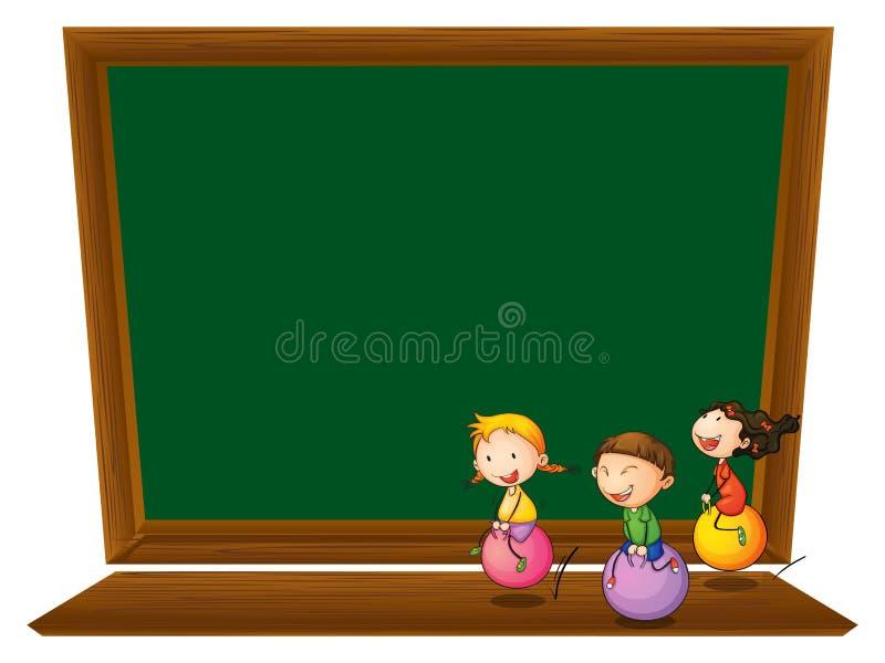 Een leeg bord met drie speelse jonge geitjes stock illustratie