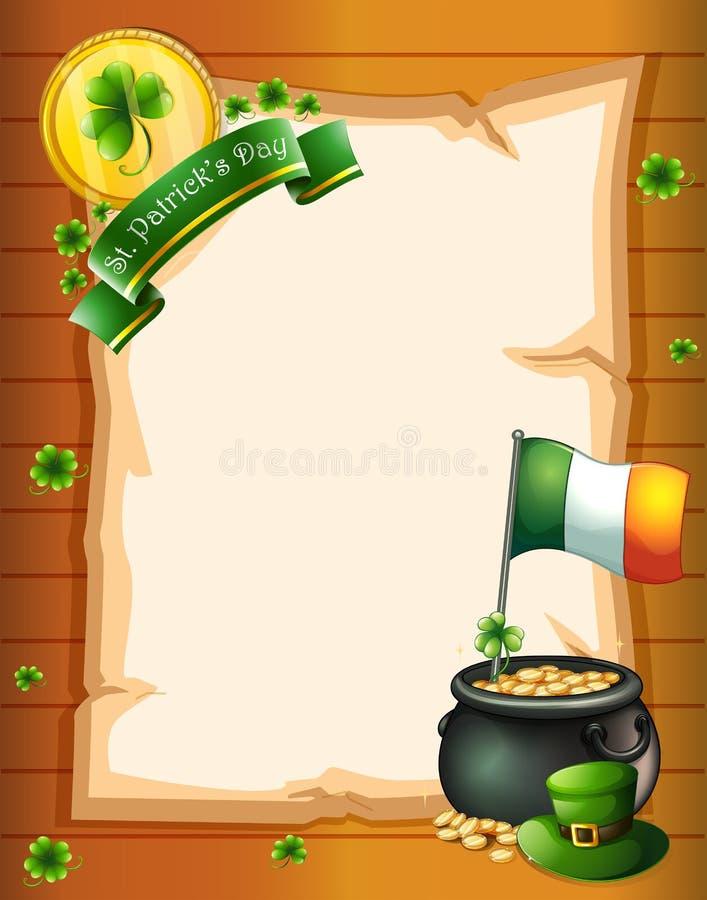 Een leeg document malplaatje voor St. Patrick dag stock illustratie