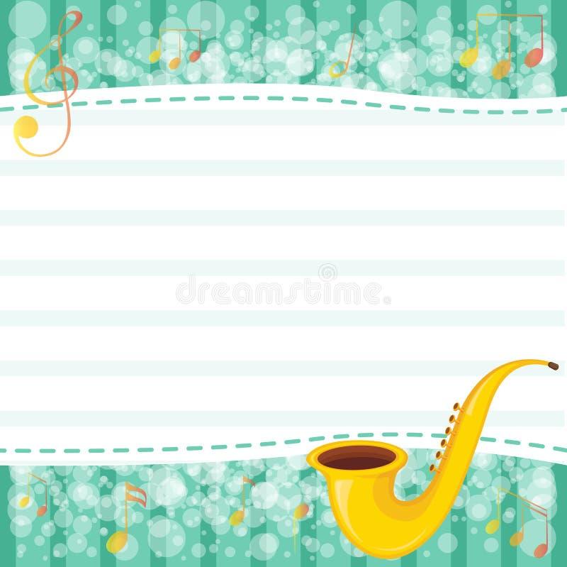Een leeg document met een muzikaal instrument stock illustratie