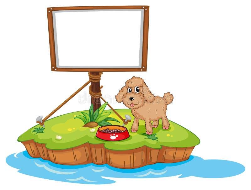 Een leeg kader dichtbij een puppy royalty-vrije illustratie