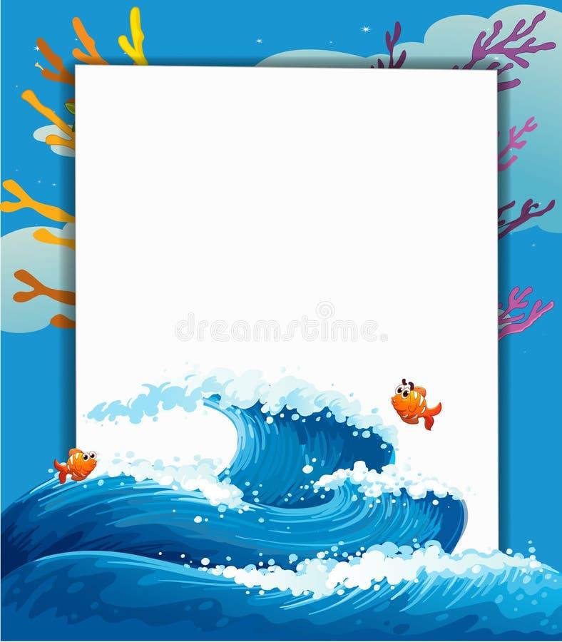 Een leeg malplaatje bij het overzees met vissen vector illustratie