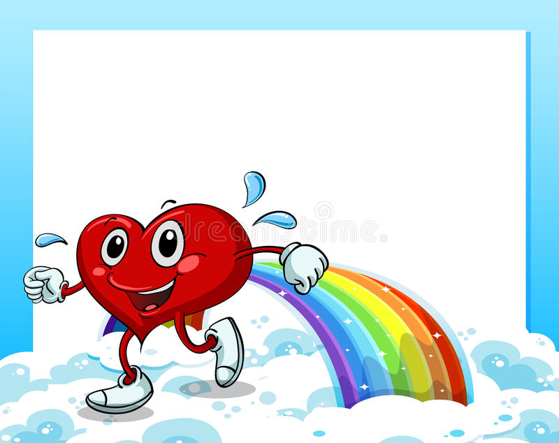 Een leeg malplaatje met een regenboog en een het lopen hart stock illustratie