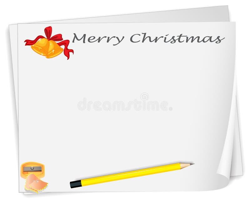 Een leeg malplaatje van de Kerstmiskaart met een slijper en een potlood royalty-vrije illustratie