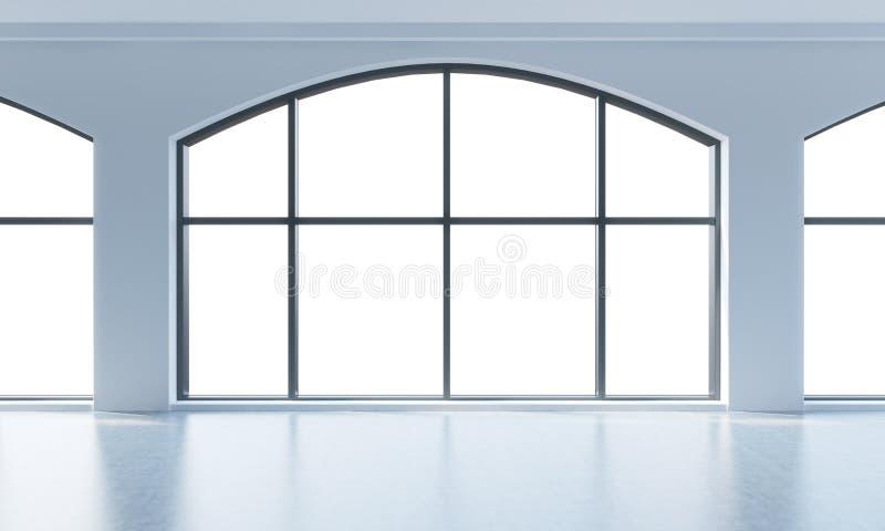 Een leeg modern helder en schoon zolderbinnenland Reusachtige panoramische vensters met witte exemplaar ruimte en witte muren Een royalty-vrije illustratie