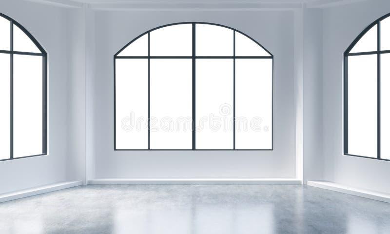 Een leeg modern helder en schoon zolderbinnenland Reusachtige panoramische vensters met witte exemplaar ruimte en witte muren Een vector illustratie