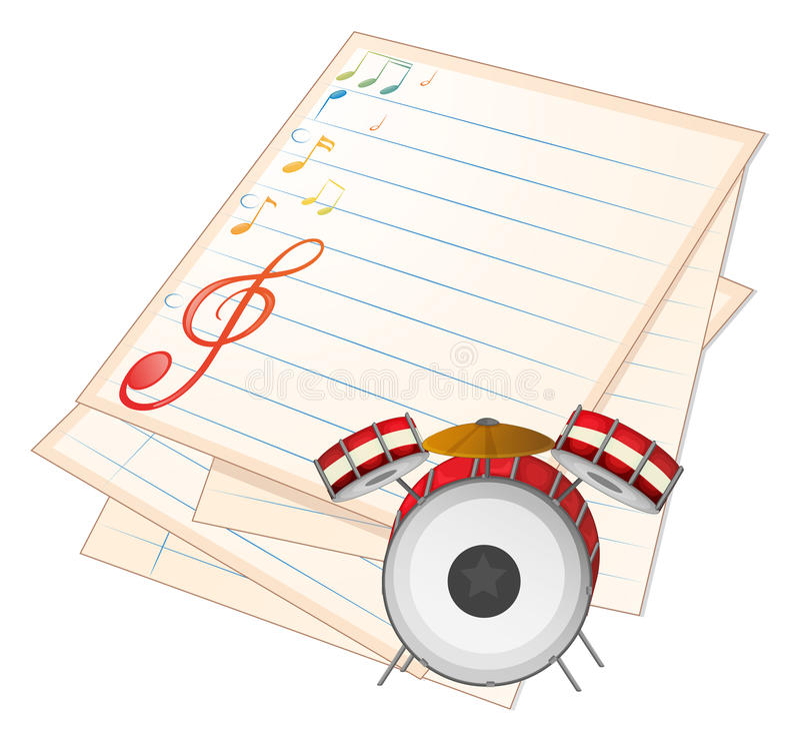 Een leeg muziekdocument met een trommel vector illustratie