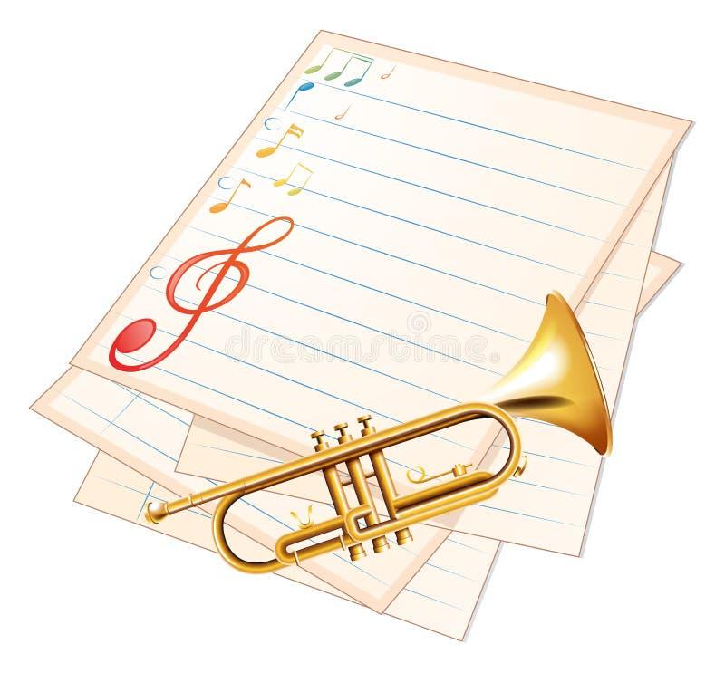 Een leeg muziekdocument met een trompet stock illustratie