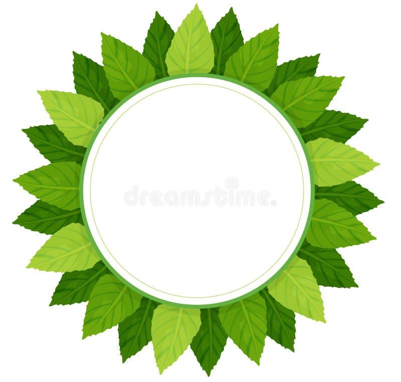 Een leeg rond die malplaatje met groene bladeren wordt omringd vector illustratie