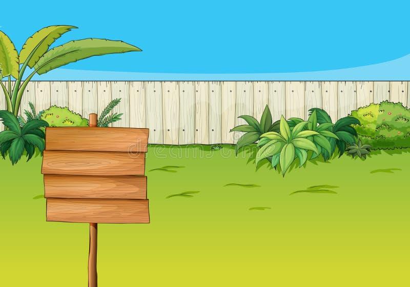 Een leeg uithangbord in de tuin stock illustratie
