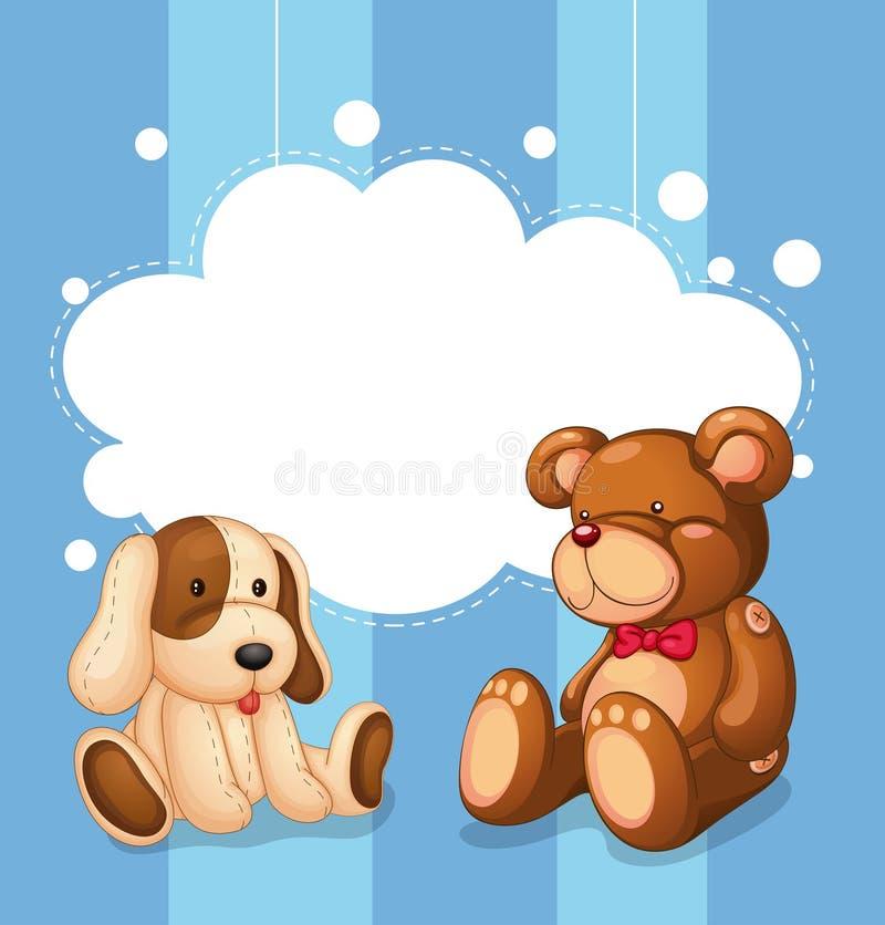 Een leeg wolkenmalplaatje met gevuld speelgoed royalty-vrije illustratie