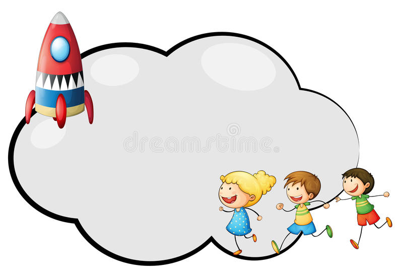 Een leeg wolkenmalplaatje met jonge geitjes en een raket vector illustratie