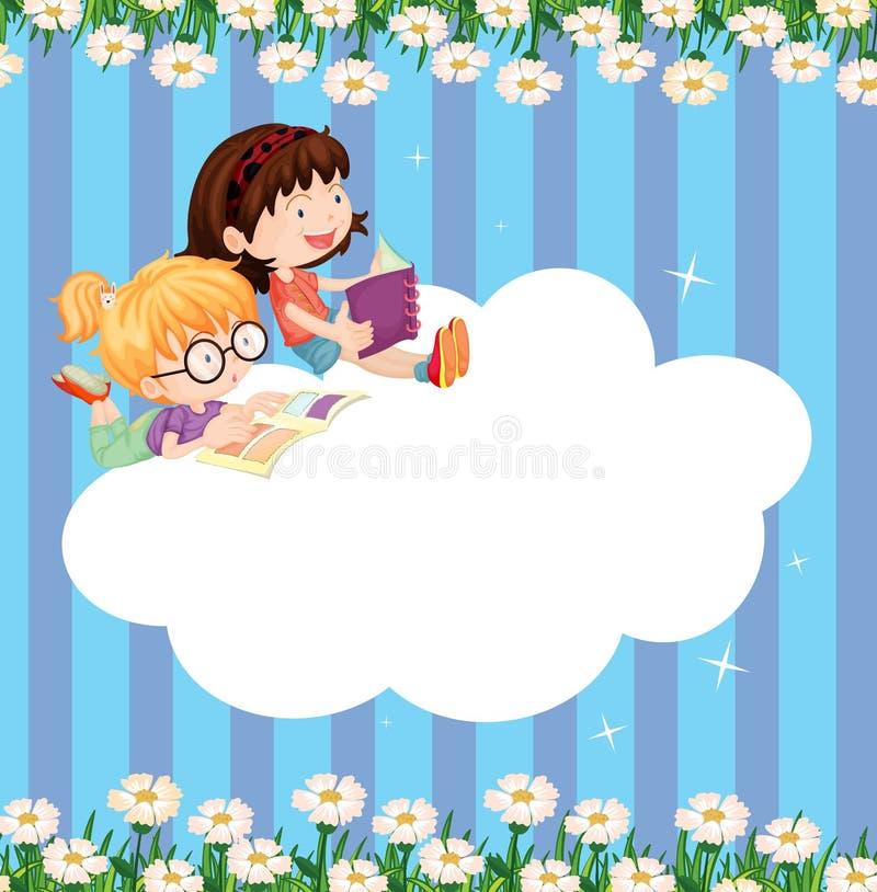 Een leeg wolkenmalplaatje met twee meisjes het lezen royalty-vrije illustratie