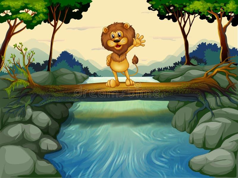 Een leeuw die zich bij de boomstam boven de stromende rivier bevinden royalty-vrije illustratie