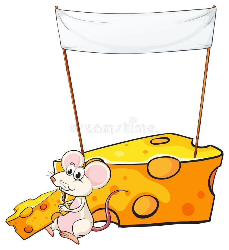 Een lege banner boven de muis met een plak van kaas stock illustratie