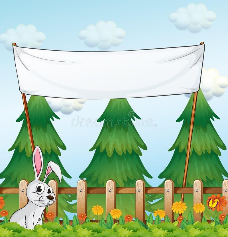 Een lege banner dichtbij de omheining met een konijn vector illustratie