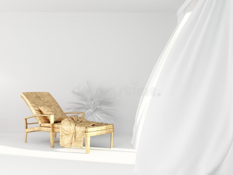 Een lege gouden zitkamerstoel binnen een heldere witte ruimte met lichte gordijnen in het Kuuroord is leeg stock illustratie