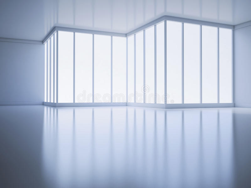 Een lege ruimte met een groot venster vector illustratie