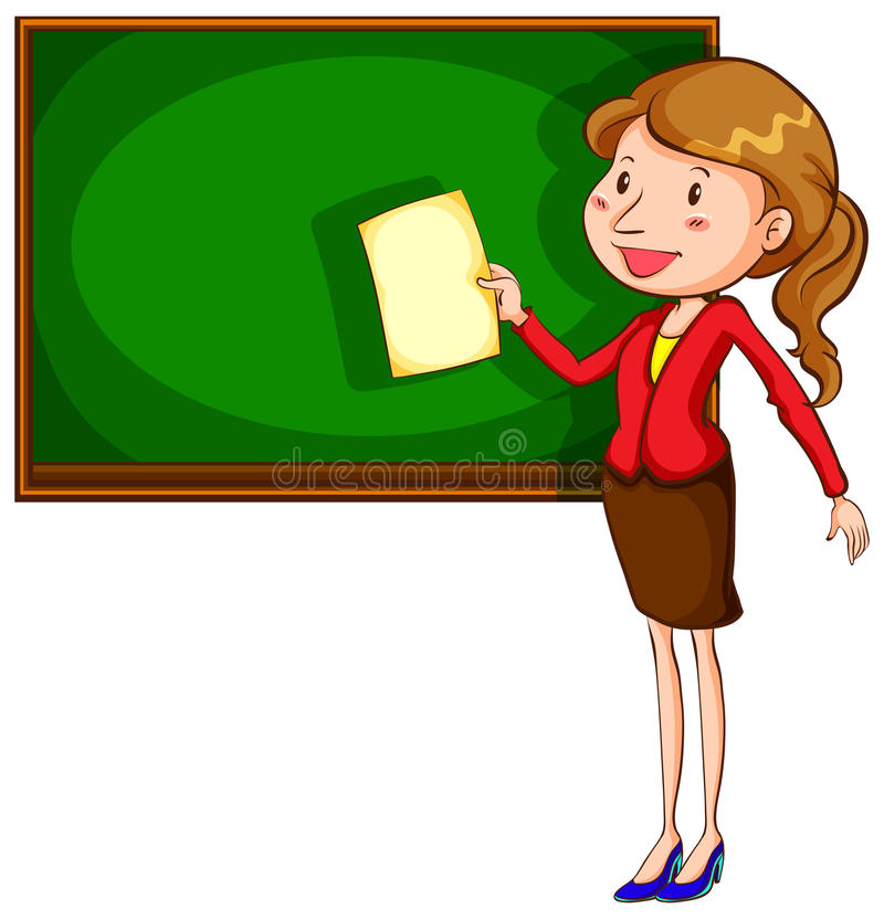 Een leraar dichtbij het bord royalty-vrije illustratie