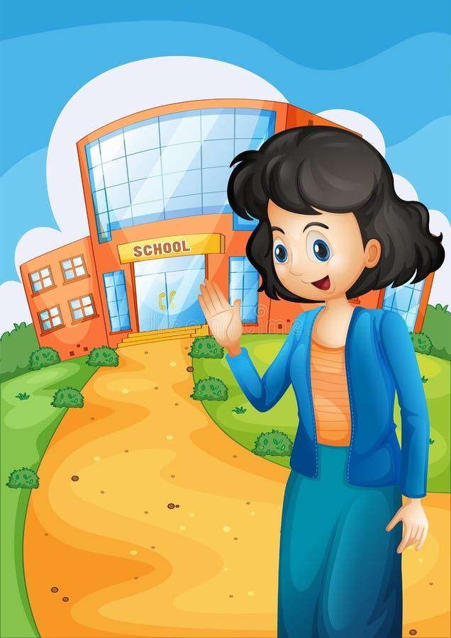 Een leraar voor de school stock illustratie