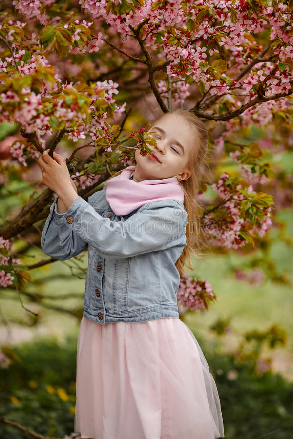 Een leuk blondemeisje glimlacht tegen een achtergrond van roze sakurabu royalty-vrije stock fotografie