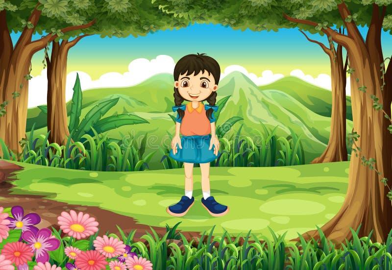 Een leuk jong meisje die zich dichtbij de bomen bevinden royalty-vrije illustratie