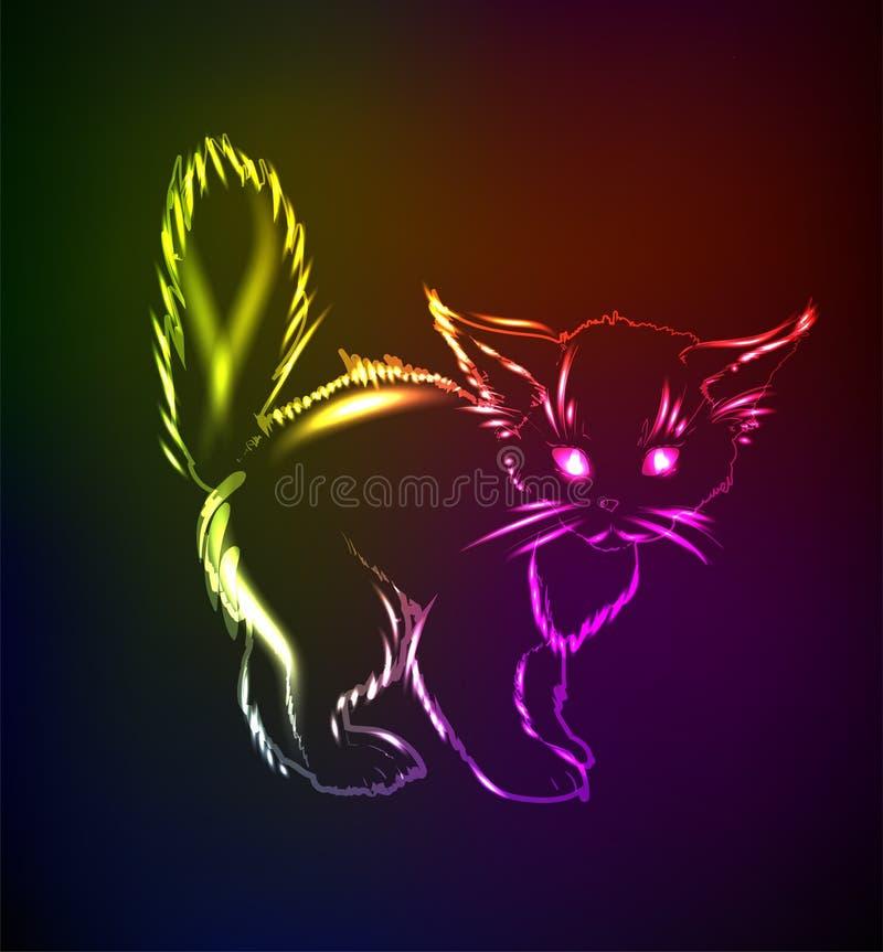 Een leuk katje in een neonlicht royalty-vrije illustratie