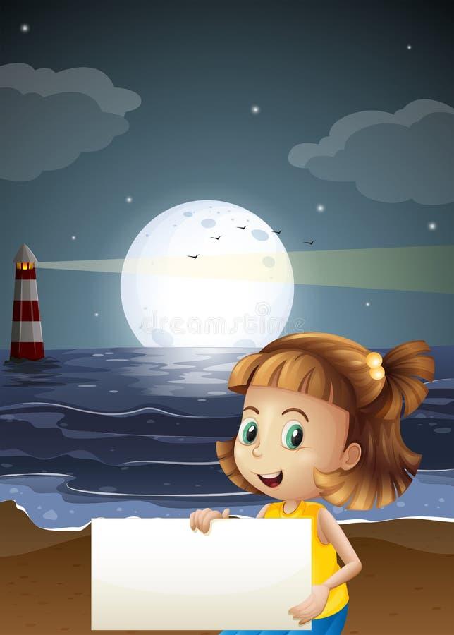Een leuk meisje die een leeg uithangbord houden bij het strand stock illustratie