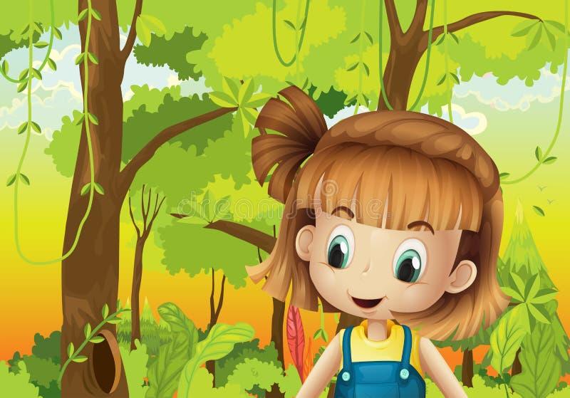 Een leuk meisje in het bos vector illustratie