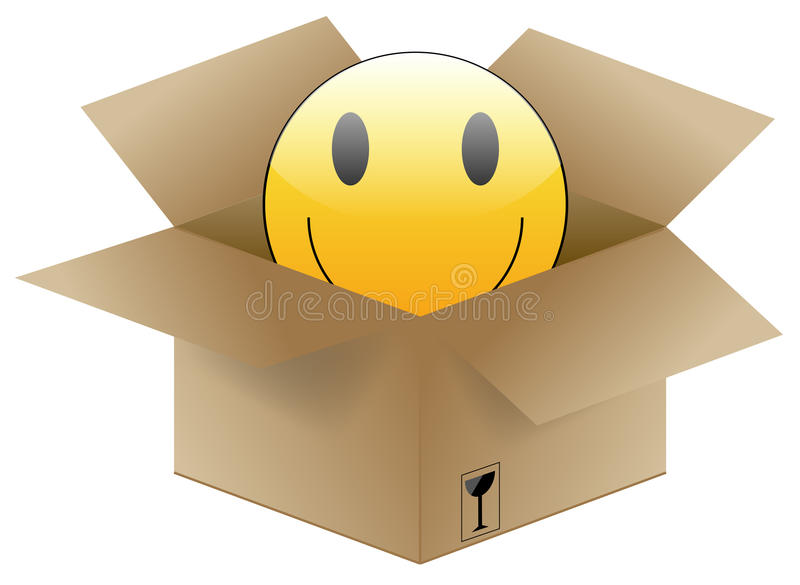 Een leuk smileygezicht in een verschepende doos stock afbeeldingen
