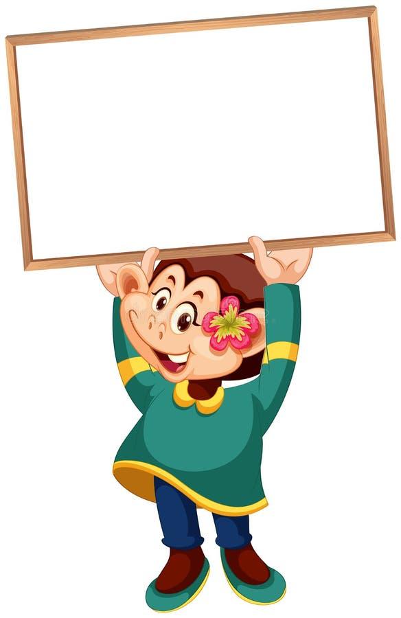 Een leuke aap die lege banner houden royalty-vrije illustratie