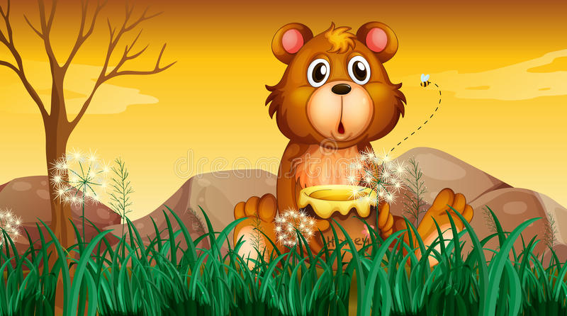Een leuke beer die een pot van honing houden vector illustratie