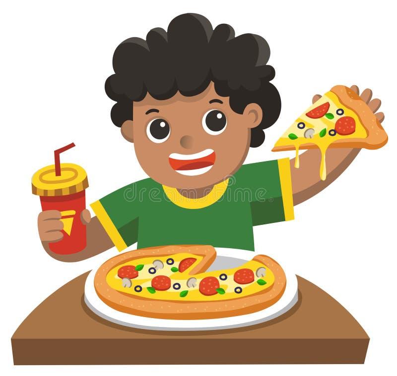 Een leuke jongen die pizza eten vector illustratie