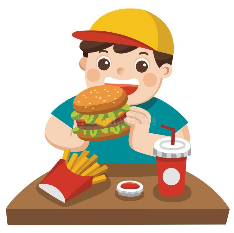Een leuke Jongen eet hamburger met frieten, en soda royalty-vrije illustratie