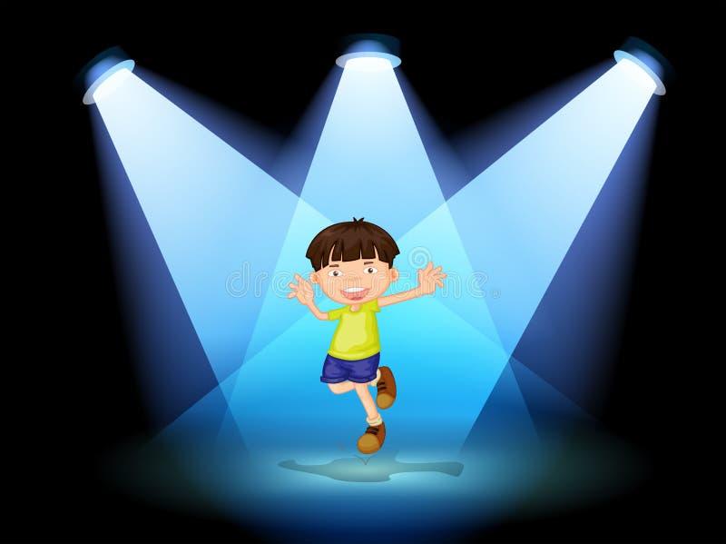 Een leuke kleine jongen die in het stadium dansen vector illustratie
