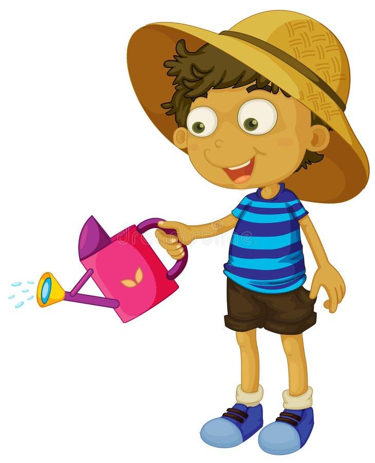 Een leuke kleine jongen met een sproeier vector illustratie