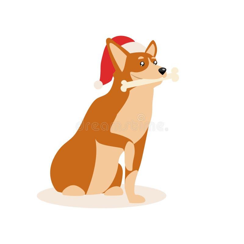 Een leuke rode hond in Kerstmishoed Gelukkige die hond met been, op een witte achtergrond wordt geïsoleerd Vector illustratie stock illustratie