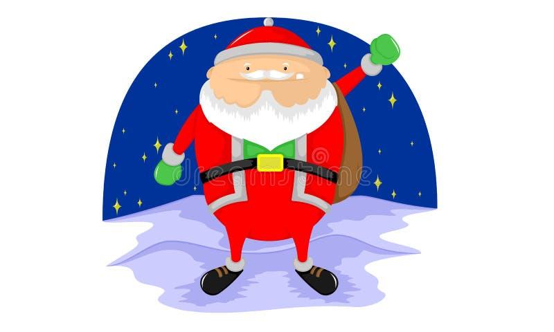 Een leuke santa brengt vele giften aan aandeel vector illustratie