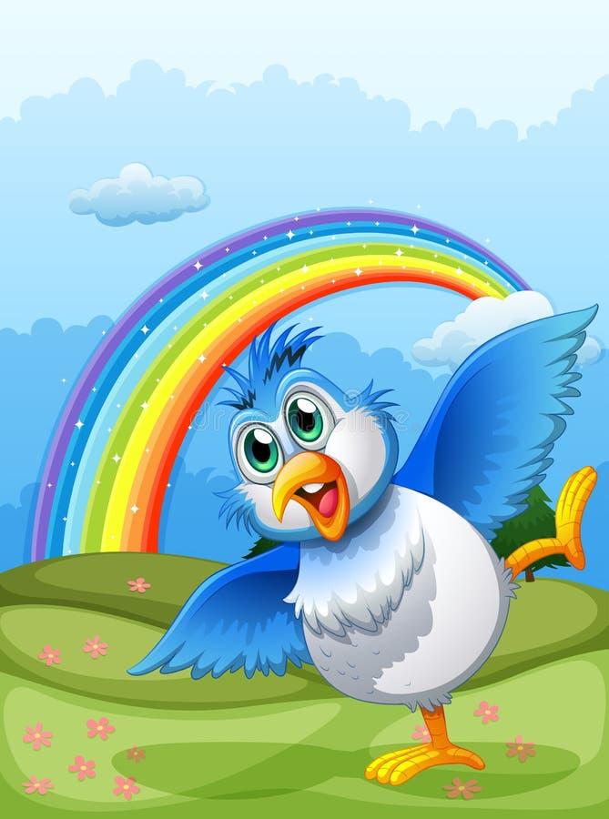 Een leuke vogel bij de heuveltop met een regenboog in de hemel royalty-vrije illustratie
