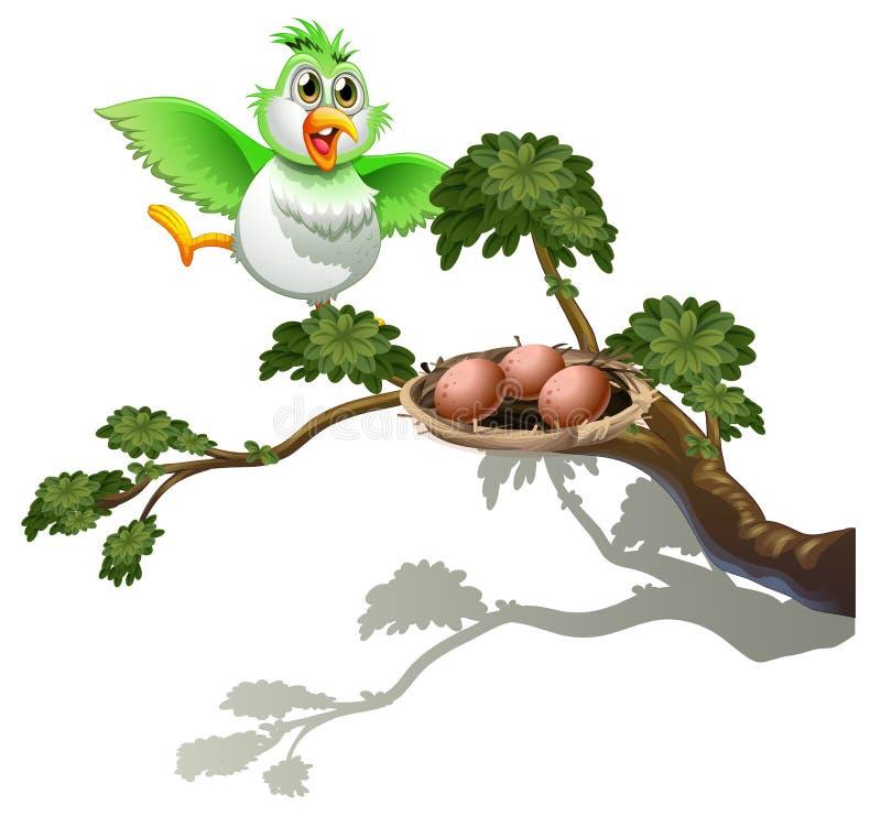 Een leuke vogel bij de tak van een boom met een nest royalty-vrije illustratie