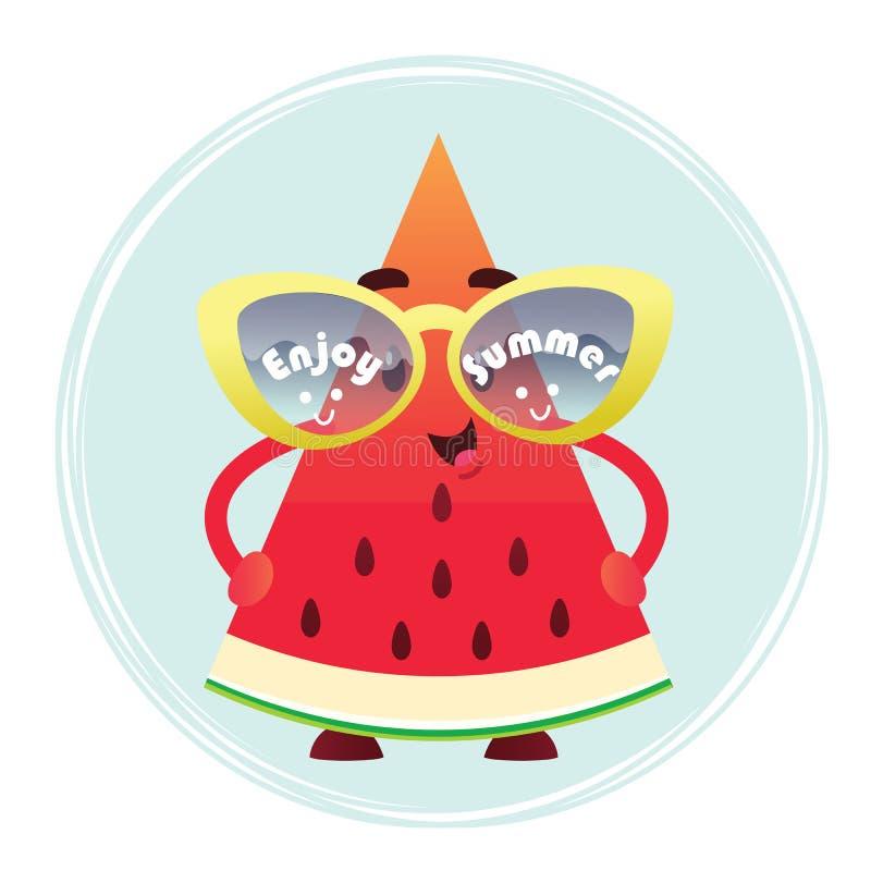 Een leuke watermeloenplak in glazen geniet van de Zomer stock foto