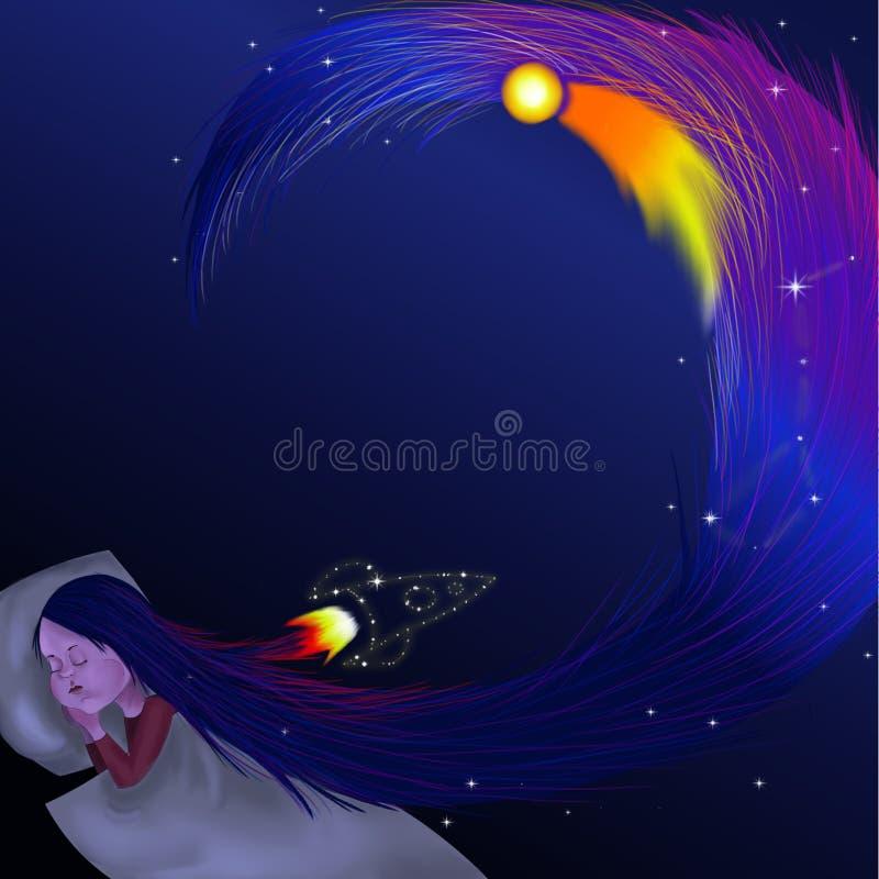 Een levendige illustratie die een slaapmeisje met lang blauw haar toont vector illustratie