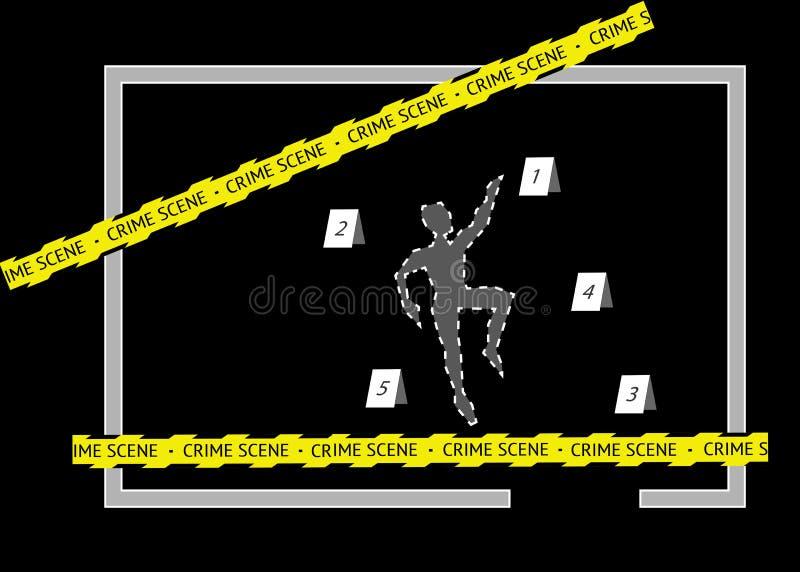 Een lichaamsoverzicht met de band en de aantallen van de misdaadscène, stock illustratie
