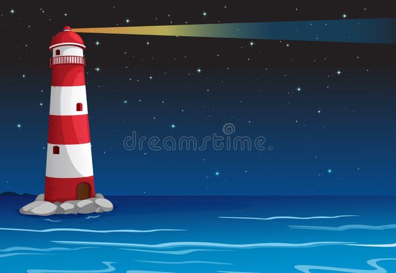 Een licht huis in donkere nacht stock illustratie