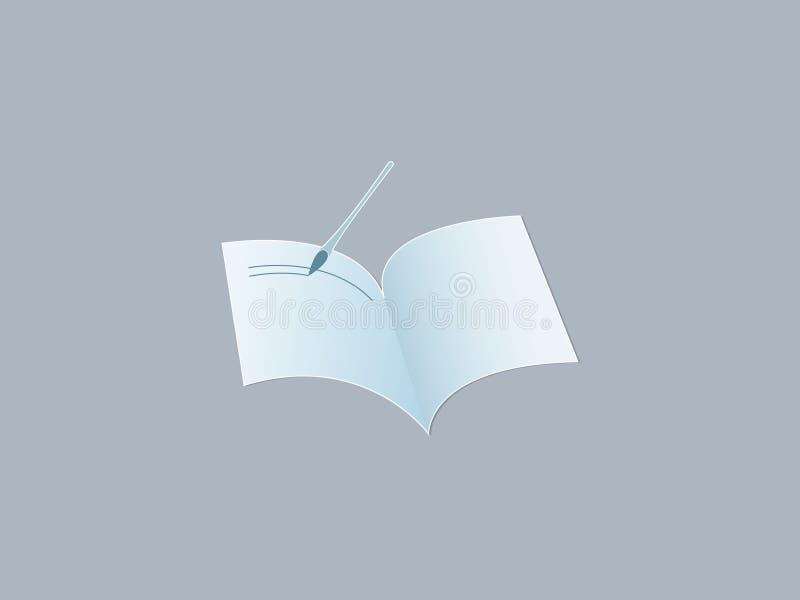 Een lichtblauw open notitieboekje met het schrijven van penembleem op donkere achtergrond voor het opslaan van kennis en gegevens vector illustratie