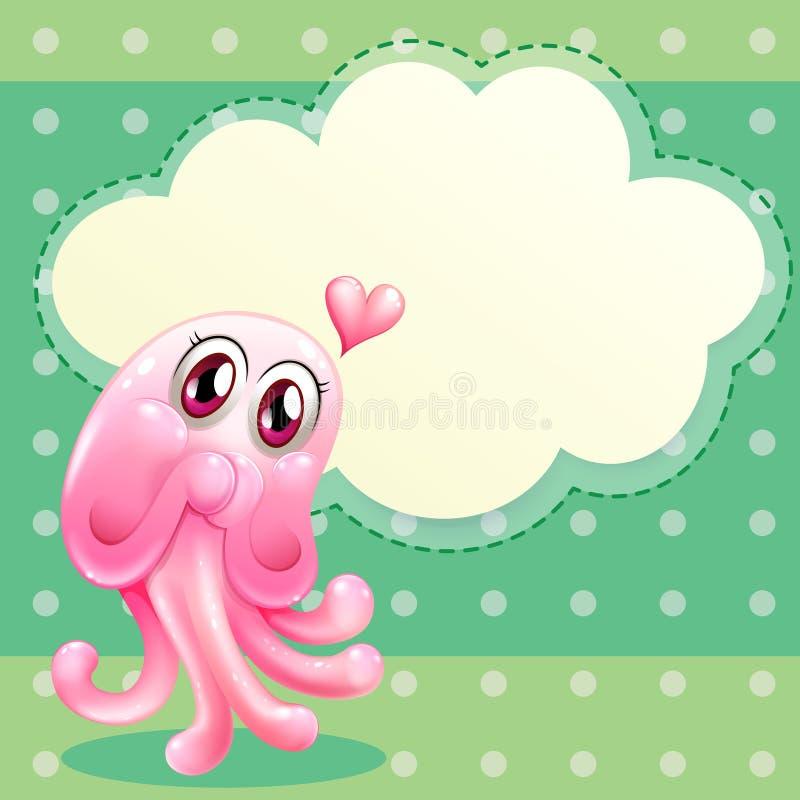Een lief roze monster met een leeg wolkenmalplaatje stock illustratie