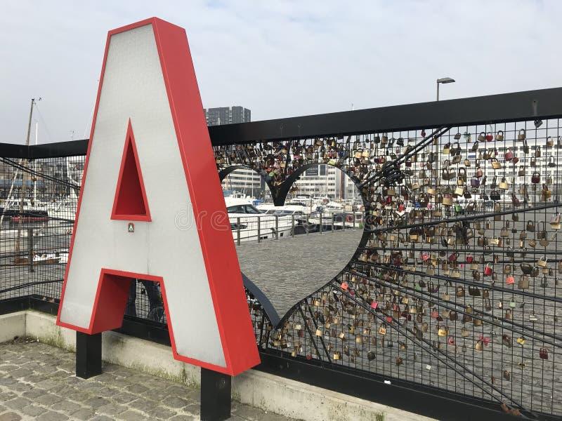 Een Liefdesmuur in Antwerpen België royalty-vrije stock fotografie