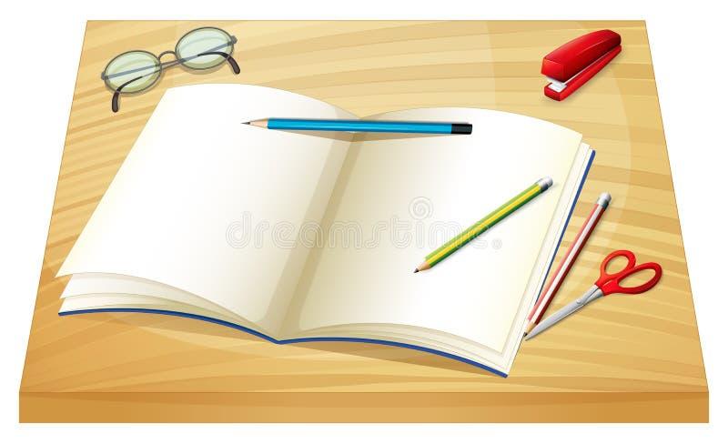 Een lijst met een leeg notitieboekje, potloden, nietmachine en een schaar stock illustratie